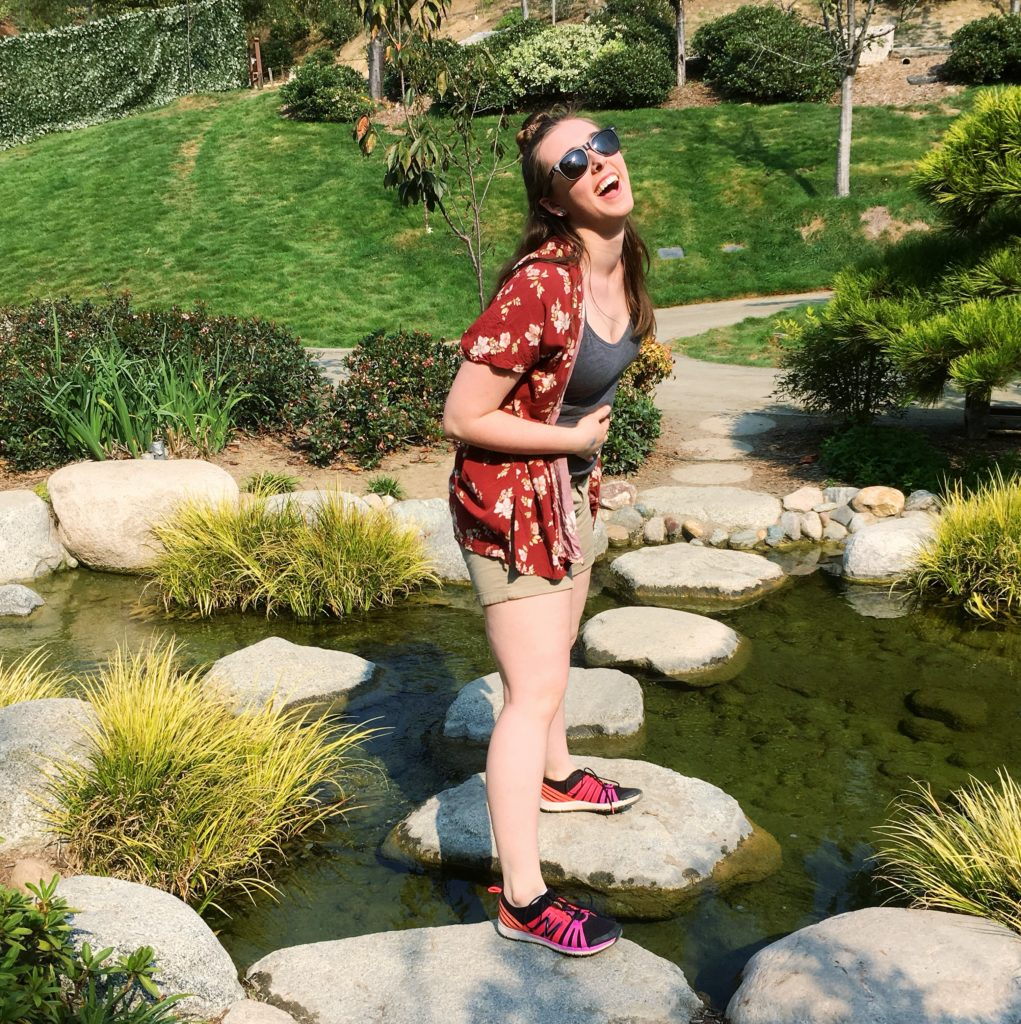 see heather smile, laugh, japanese garden, san diego, balboa park, river crossing, creek, rock bridge, smile, happy