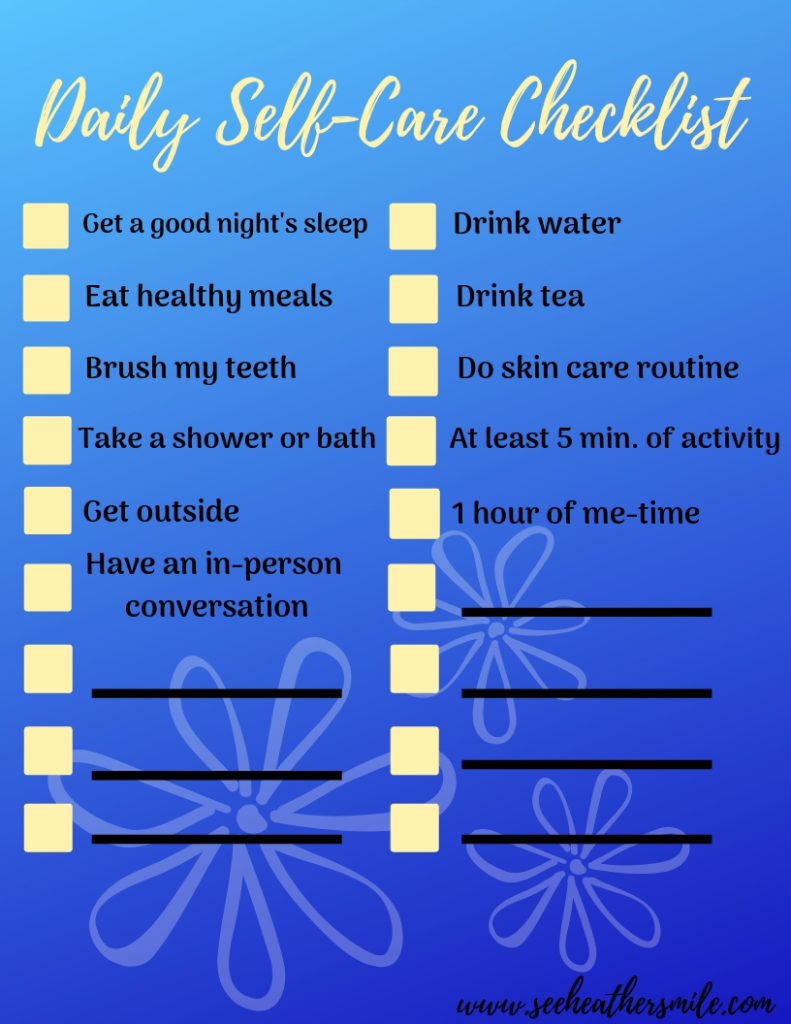 see heather smile, daily self care, checklist, freebie, printable, blue, peach,
