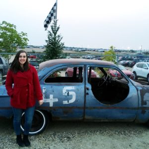 see heather smile, woman, red coat, junker, car, old car, 45, race track