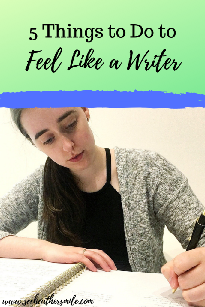 see heather smile, 5 things, writer, author, writing, pen, paper, notebook, green, blue