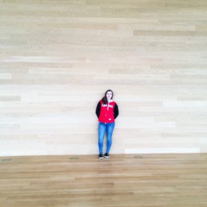 see heather smile, wood, room, bright, red sweater