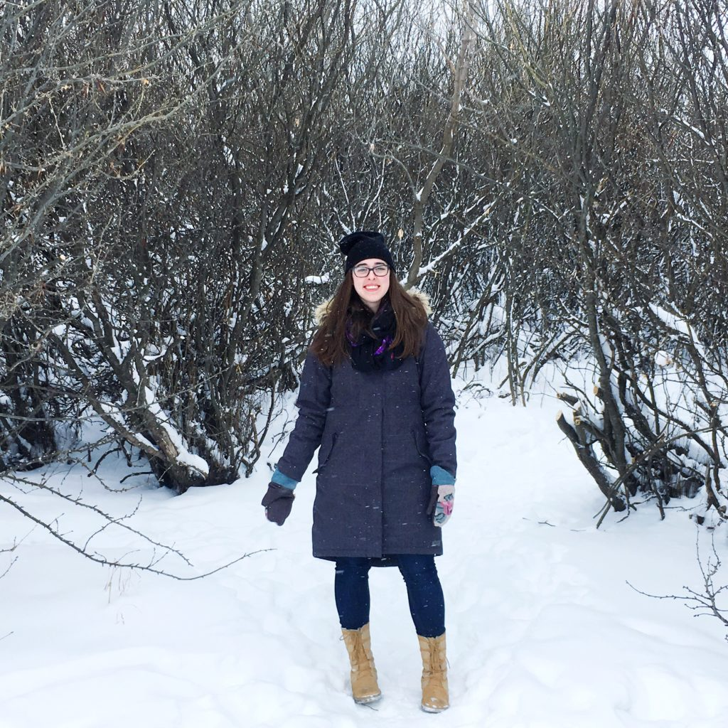 see heather smile, winter, winter boots, snow, bushes, grove, clearing, woods, forest, smile