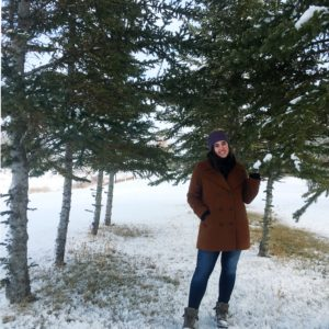 woman, tree grove, trees, forest, winter, snow, smile, see heather smile