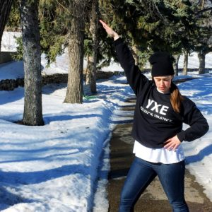 see heather smile, woman, bad pose, posing, winter, yxe, toque, beanie, sweater, hoodie