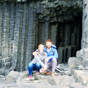 see heather smile, couple, scotland, fingal's cave, cave, hiking, walking, exploring, rock formation, travel