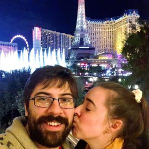 see heather smile, couple, in love, love, las vegas, eiffel tower, belagio fountain, the strip, casino, travel, together
