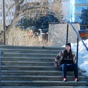 see heather smile, woman, sitting, steps, stairs, outdoors, riverside,