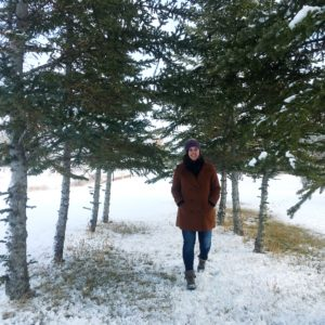 see heather smile, forest, trees, winter, walk, woman, brown coat, smile,
