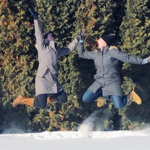 see heather smile, high five, winter, snow, sunny, high five, women, jump, jump for joy, perfect day, happy, happy life
