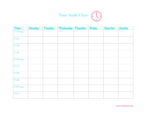 see heather smile, time audit chart, time, audit, chart, planning, tracking, planner