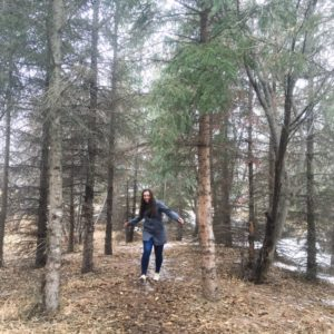 see heather smile, walking through the forest, walking through the woods, forest, woods, trees, nature