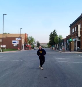 see heather smile, empty street, empty intersection, road, small town, main street, blue sky, prairie town
