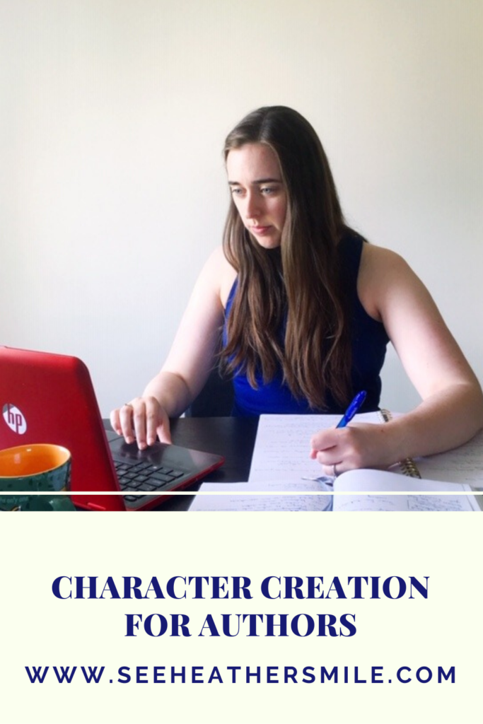 see heather smile, character creation, characters, character building, author, writer, writing, work table, work station, work space, laptop, notebook, pen