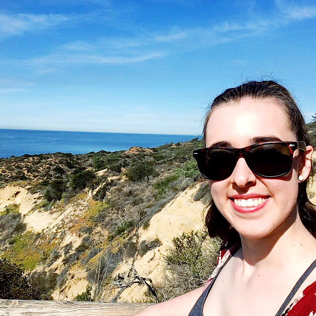 see heather smile, selfie, san diego, ocean, ocean hike, hike, nature, explore, travel,