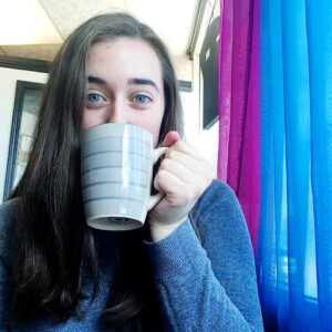 see heather smile, mug, coffee, tea, hot chocolate, cider, coffee shop, curtains, blue curtains, writer life, writer
