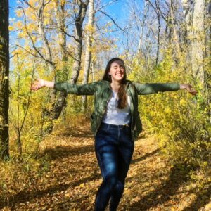 see heather smile, autumn, fall, trees, leaves, orange, brown, arms wide, laugh, smile