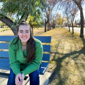 see heather smile, park, park bench, trees, autumn, fall, green sweater, wool sweater